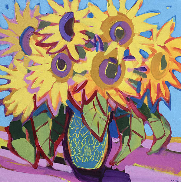 Sunflowers in Blue Pottery Vase