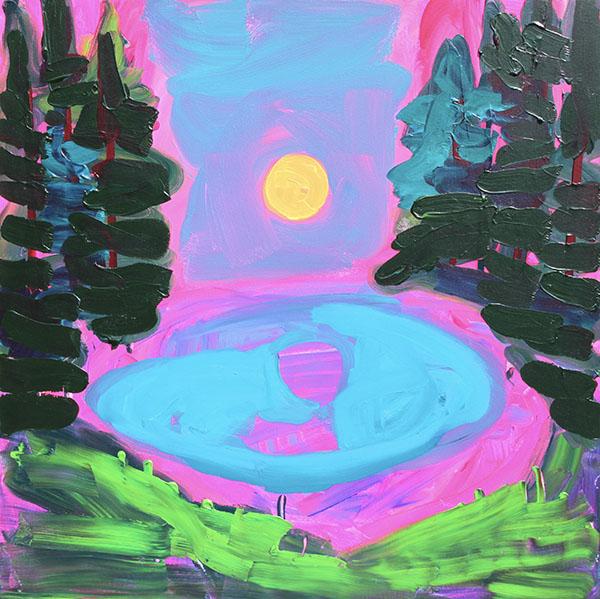 Moon on a Lake, acrylic on canvas, 76 x 76 cm