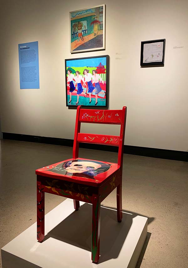 Installation, Beaverbrook Art Gallery. 'Working Mothers', shown here with works by Nancy Morin (Chair with Skull, 1994) and Yvon Gallant (Untitled, 1978).