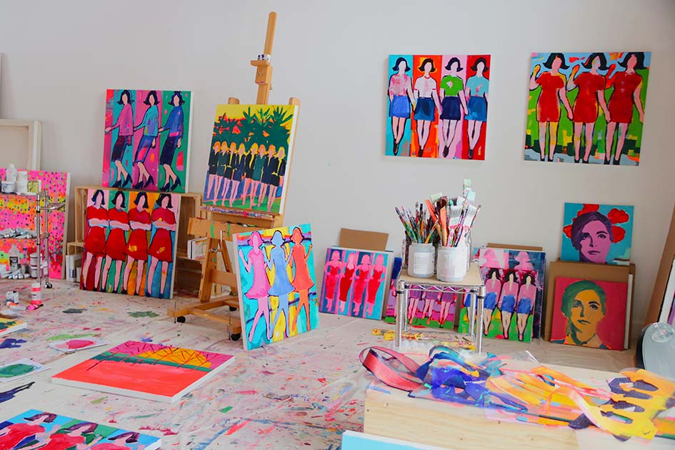 Busy studio preparing for Artist Project Toronto!